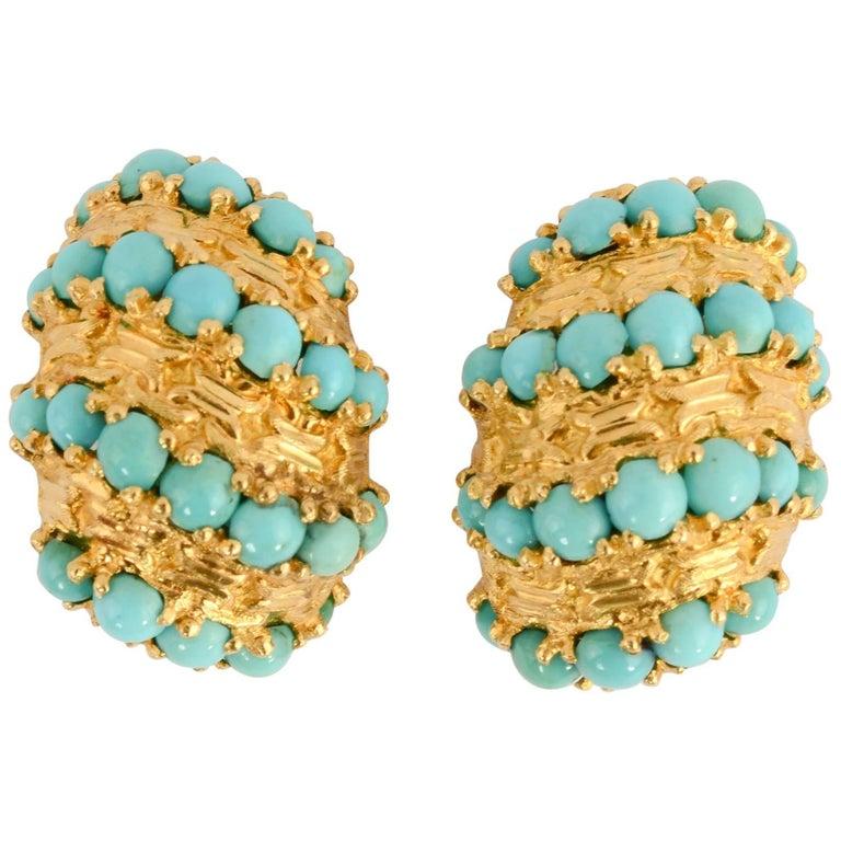 Pomellato Gold Turquoise Earrings