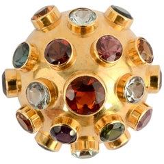 Gold and Gemstone Sputnik Brooch