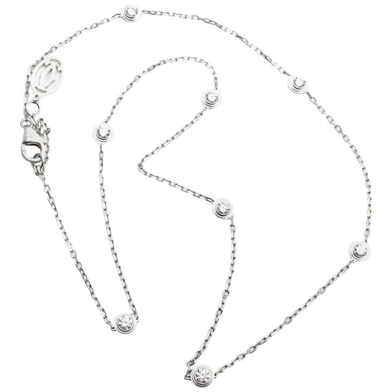 Cartier Diamants Légers Eight Diamond by the Yard Choker Gold Link Necklace