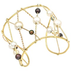 Renato Cipullo Pearl and Gold Cuff Bracelet