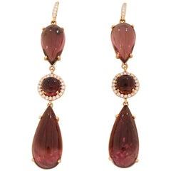 Pink Tourmaline and Diamond Drop Earrings by Lauren K