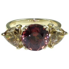Red and Smoky Zircon Ring