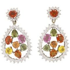 Multicolored Gemstones Drop Earrings