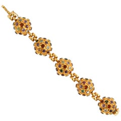 Gold and Gemstone Sputnik Bracelet