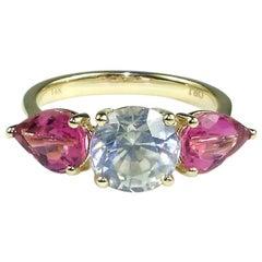 White Zircon and Pink Tourmaline Ring