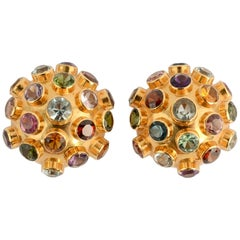 Sputnik Gold Earrings with Gemstones
