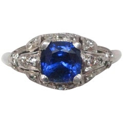 Art Deco Sapphire Diamond White Gold Ring