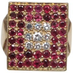Geometric Ruby Diamond Yellow Gold Ring