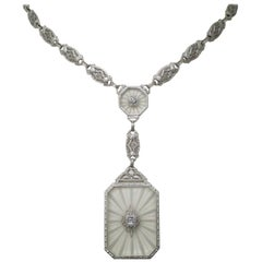 Art Deco Carved Quartz Diamond White Gold Necklace