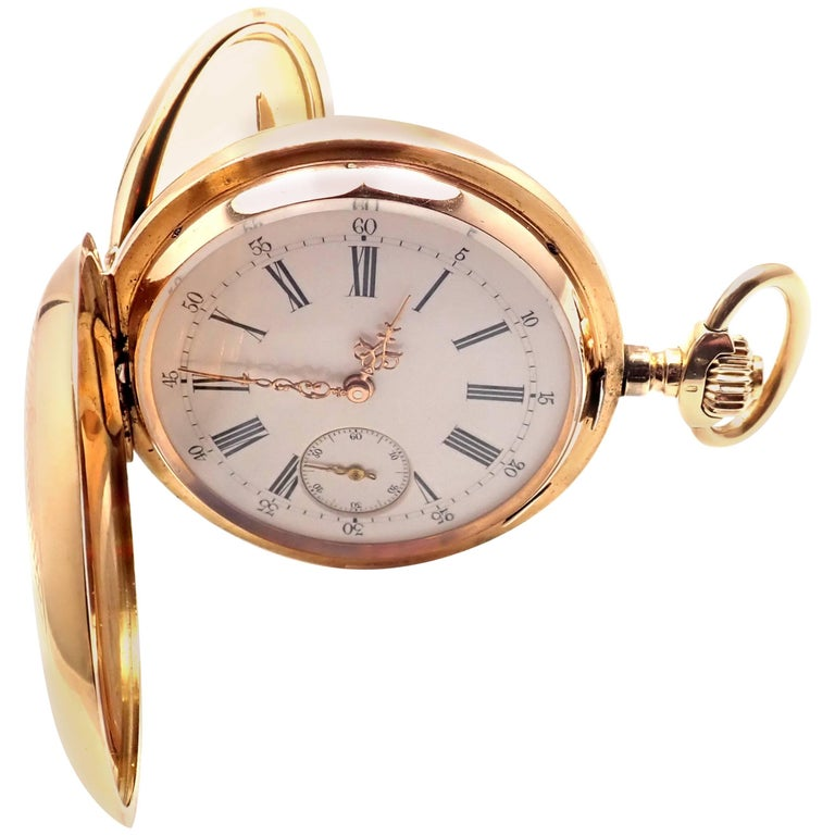 Yellow Gold Vintage Swiss Large Hunter Case Quarter Repeater Pocket Watch