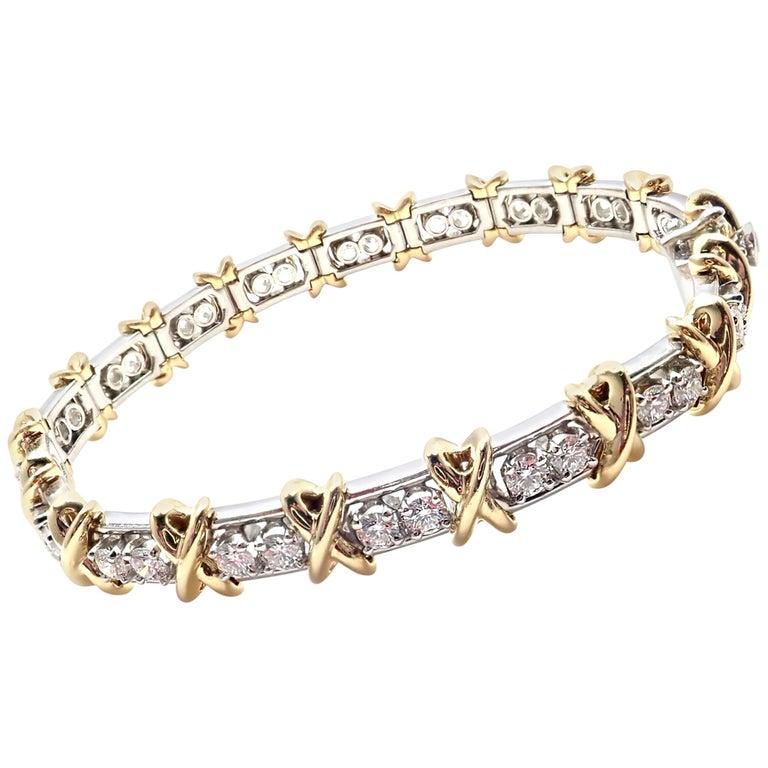Tiffany & Co. Jean Schlumberger 36-Stone Diamond Platinum and Gold Bracelet