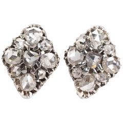 1880s Victorian Era Rose Cut 3 Carat Diamond Earrings