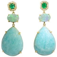 Emerald, Opal and Amazonite Drop Earrings by Lauren K