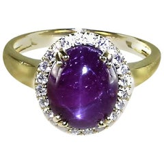 Star Ruby with Diamond Halo Ring