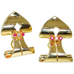 Retro Ruby and Diamond Arrow Motif Gold Earrings, circa 1950