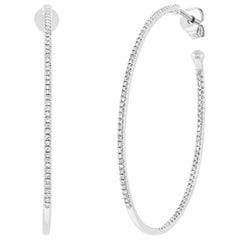 Mark Broumand 0.46 Carat Round Cut Diamond Hoop Earrings in 14 Karat White Gold
