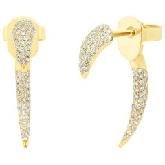 Mark Broumand 0.37 Carat Round Brilliant Cut Diamond Tribal Claw Earrings