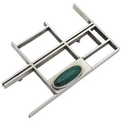 Oval Chrysocolla Sterling Silver Brooch Architectural, 1960