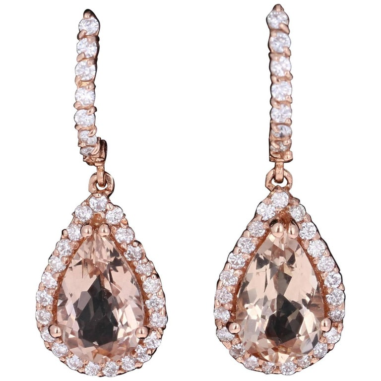 6.28 Carat Morganite Diamond Drop Rose Gold Earrings