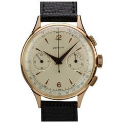 Zenith Pink Gold Chronograph Manual Wind Wristwatch, circa 1950