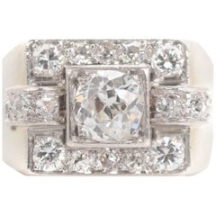 1930s 0.75 Carat Diamond and 14 Karat White Gold Ring