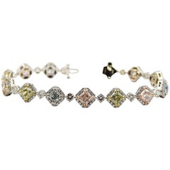 11.50 Carat 13 Natural Multicolored Diamond Bracelet in Platinum