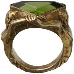 Circa 1930 Adam & Eve Paradise Peridot 18 Karat Gold Cocktail Engagement Ring