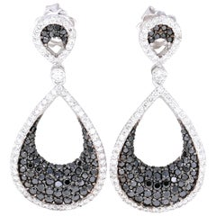 2.15 Carat Black Diamond Drop White Gold Earrings
