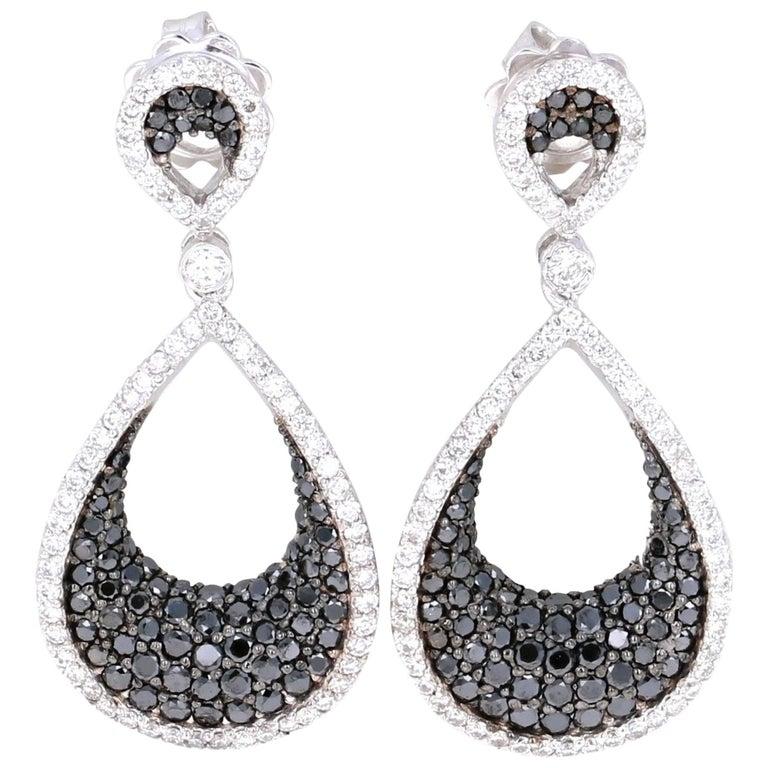 2 15 Carat Black Diamond Drop White Gold Earrings For
