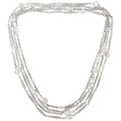 Diamond by the Yard Platinum Chain Necklace Art Deco
