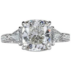 Mark Broumand 3.95 Carat Cushion Cut Diamond Engagement Ring
