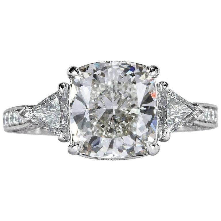 Mark Broumand 3.95 Carat Cushion Cut Diamond Engagement Ring