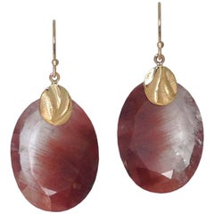 Dangle Earrings with 29.27 Carat Red Rutilated Quartz and a 14 Karat Gold Cap