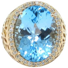 18 Karat Rose Gold Garavelli Ring with Blue Topaz and Diamonds