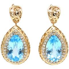 18 Karat Rose Gold Garavelli Earrings with Blue Topaz and Diamonds