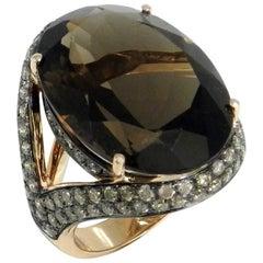 18 Karat Rose Gold  Smoky Quartz and Brown Diamonds Garavelli Cocktail Ring