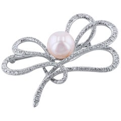 Diamond and White Pearl Swirl Pendant with Brooch Pin