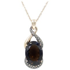 18 Karat Gold Garavelli Pendant Necklace with Smoky Quartz and Brown Diamonds
