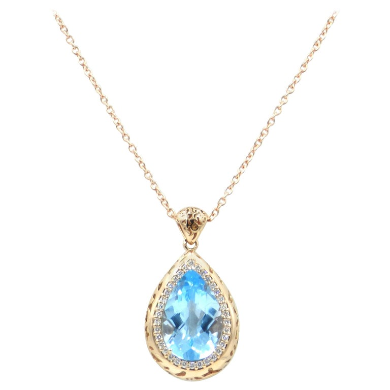 18 Karat Rose Gold Garavelli Necklace with Blue Topaz and Diamonds