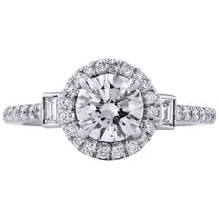 H & H 1.00 Carat Round Diamond Engagement Ring