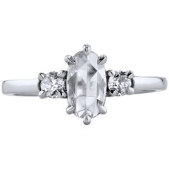 H & H 0.67 Carat Rose Cut Diamond Engagement Ring