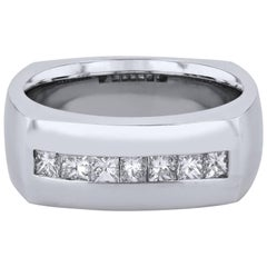 H & H Men's 0.75 Carat Princess- Cut Diamond Band Ring