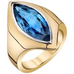 5.60 Carat Marquise Blue Sapphire 18 Karat Yellow Gold Ring