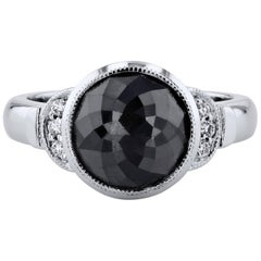 4 Carat Bezel Set Rose Cut Black Diamond Ring Handmade by H & H Jewels