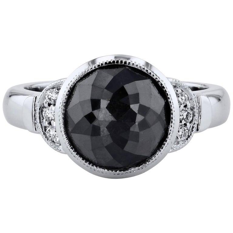 H & H 4.00 Carat Rose Cut Black Diamond Ring For Sale