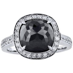 H & H 5.18 Carat Black Diamond Ring