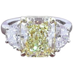 Cartier 6.36 Carat Fancy Yellow Radiant Diamond Platinum Diamond Engagement Ring