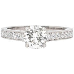 Platinum Ring Featuring GIA Round Brilliant Cut Diamond