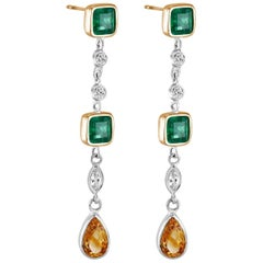 Emerald Cut Emerald Diamond Drop Earrings