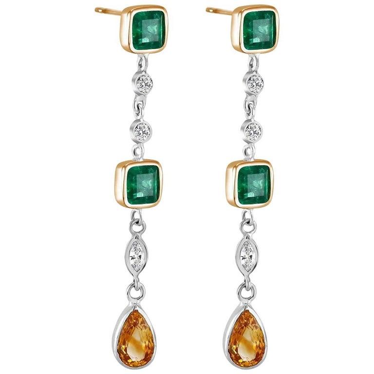 Emerald Cut Colombian Emerald Diamond Drop Earrings